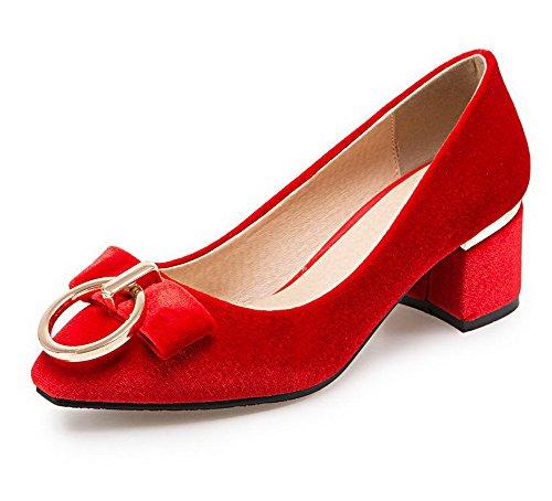 AllhqFashion Damen Ziehen auf Nubukleder Quadratisch Zehe Mittler Absatz Rein Pumps Schuhe Rot