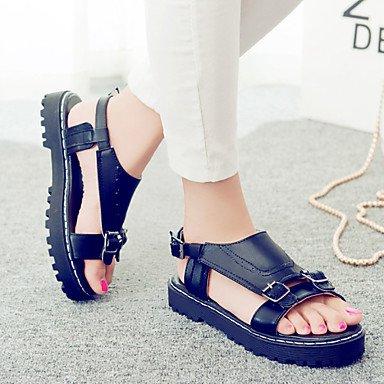pwne Sandalias De Mujer Zapatos Formales Polipiel Primavera Verano Oficina Exterior &Amp; Carrera Visten Casual Talón Plano Plano Negro Blanco Negro Us8.5 / Ue39 / Uk6.5 / Cn40 US8.5 / EU39 / UK6.5 / CN40
