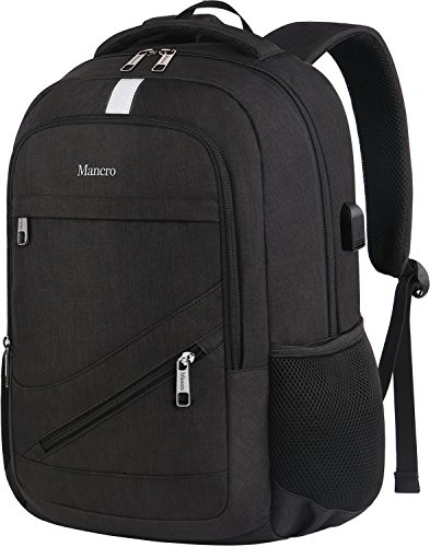 High School Backpack, Laptop Backpack RFID College Bag for Women Men, Anti theft Travel Business Laptop Bag w/USB Charging Port, Mancro Slim Water Resistant Polyester Daypack Fit 15.6'' Notebook, Black by Mancro