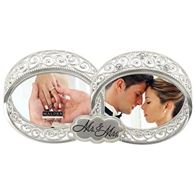 Malden International Designs Wedding Mr. and Mrs. Double Wedding Ring With Jewels Picture Frame, 2 Option, 2-4x4, Silver