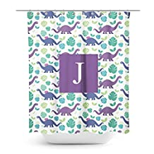 [ J - INITIAL ] Name Monogram Polyester Fabric Bathroom Decor Shower Curtain Set with Hooks [ Dinosaur Purple Blue ]