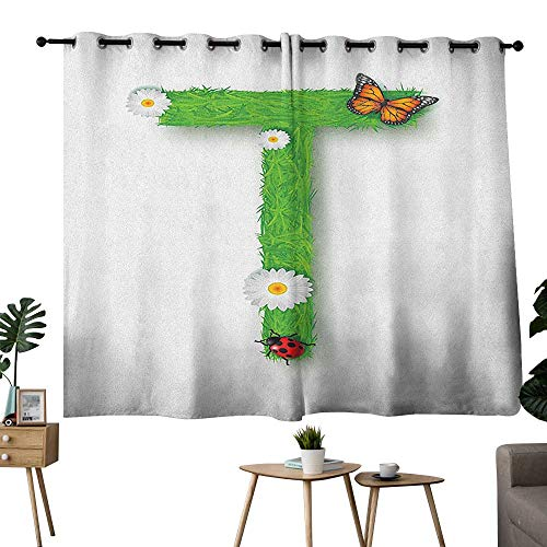 (homecoco Letter T Grommet Light Darkening Curtains Caps T with Flourishing Fragrance Botanical Design and Ladybug Girls Room Curtain Kids Green Multicolor W55 x L39)