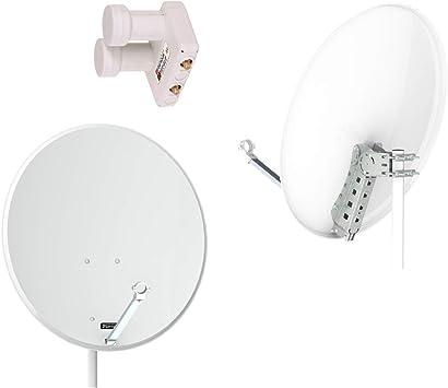 Opticum QA 80 satélites Gris Acero Antena con Doble LNB ...