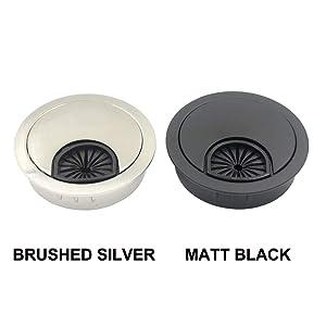 DGOL 5 pcs 2 inch Metal Desk Grommet Cable Cord Wire Hole Cover Outlet Port (MATT Black) (Color: MATT BLACK)