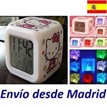 Reloj Despertador Musical HELLO KITTY Colores Alarma Temperatura Niñas Infantil: Amazon.es: Electrónica