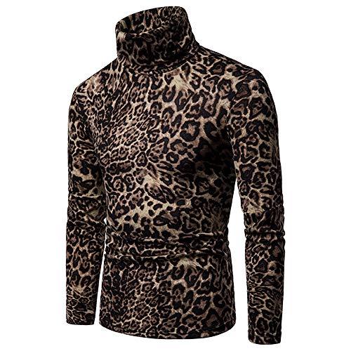 (NREALY Shirt Mens Leopard Print Turtleneck Pullover Long Sleeve Sweatshirt Tops Undershirt(XL, Brown))