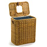 The Basket Lady Drop-In Wicker Rectangular Trash Basket with Metal Liner, One Size, Toasted Oat
