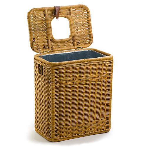 The Basket Lady Drop-In Wicker Rectangular Trash Basket with Metal Liner, One Size, Toasted Oat by The Basket Lady