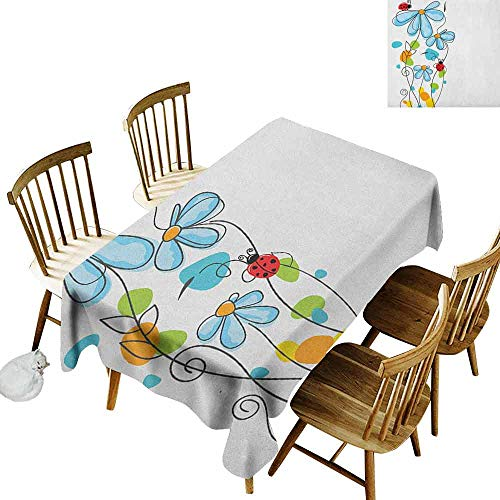 - DONEECKL Ladybugs Oil-Proof Tablecloth Seamless Design Flowers and Oval Dome Shaped Ladybugs Illustration Never Ending Love Story Luck Symbol Multi W60 xL84