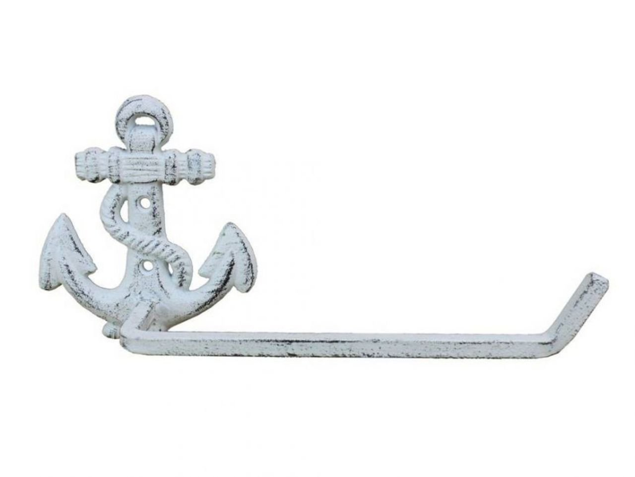 Hampton Nautical K-9210-w Whitewashed Cast Iron Anchor Toilet Paper Holder 10'' - Beach Bathroom Decoration - Beach Home Decorating by Hampton Nautical