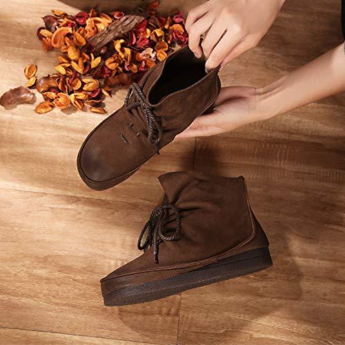 Shukun Stiefeletten Lace Martin Stiefel ethnischen Stil Retro-Frauen Schuhe mit Martin Stiefel Kurze Stiefel Flache Frauen einzigen kurzen Rohr