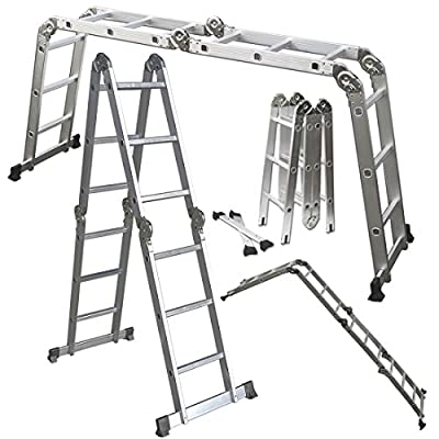 Scaffold Ladder Heavy Duty Giant Aluminum 11.5 ft Multi Purpose Fold Step Extend