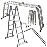 chain link floor bracket - Scaffold Ladder Heavy Duty Giant Aluminum 11.5 ft Multi Purpose Fold Step Extend