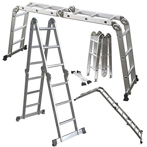 Scaffold Ladder Heavy Duty Giant Aluminum 11.5 ft Multi Purpose Fold Step Extend