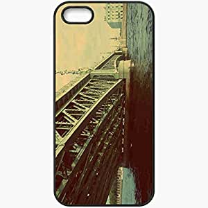 Protective Case Back Cover For iPhone 5 5S Case Bridge River Sky Black