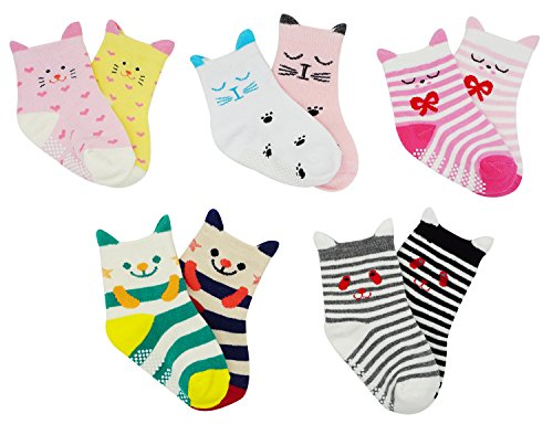 Bienvenu 10 Pairs Anti-slip Soft Cotton Baby Kid Socks,Multi Color_1