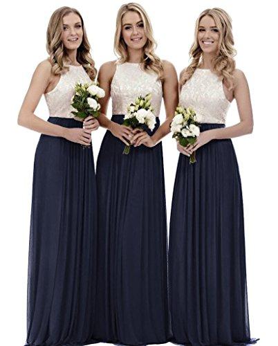 Zhongde Women's A Line Scoop Neck Lace Chiffon Bridesmaid Dress for Girls Wedding Evening Party Gown Navy Blue Size 18 (Petite Evening Dresses Navy Blue)