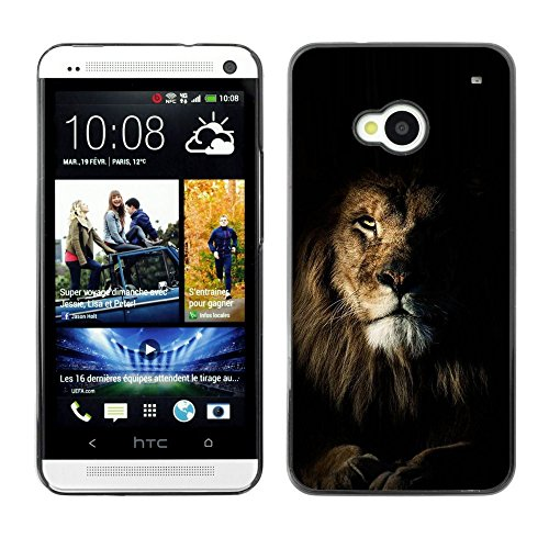 All Phone Most Case / Hard PC Metal piece Shell Slim Cover Protective Case for HTC One M7 lion black nature mane roar king cat