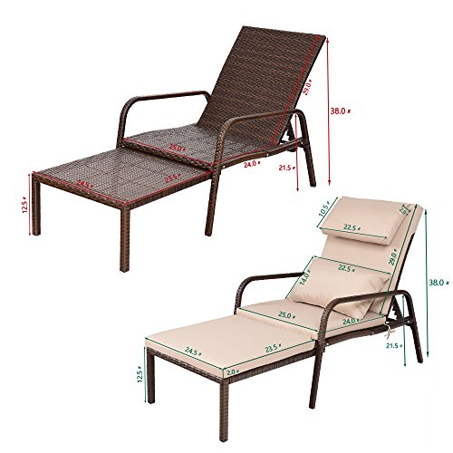 Tangkula Patio Reclining Chaise Lounge Outdoor Beach Pool Yard Porch Wicker Rattan Adjustable Backrest Lounger Chair (Pull Out) by Tangkula (Image #2)