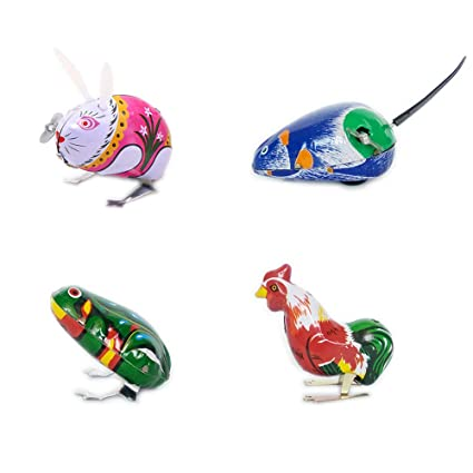Cock Toy Gift Kids Children Kansoo 4 Pack Wind-Up Funny Dark /& Green Clockwork Spring Wind Up Metal Jumping Frog,Rabbit Mouse