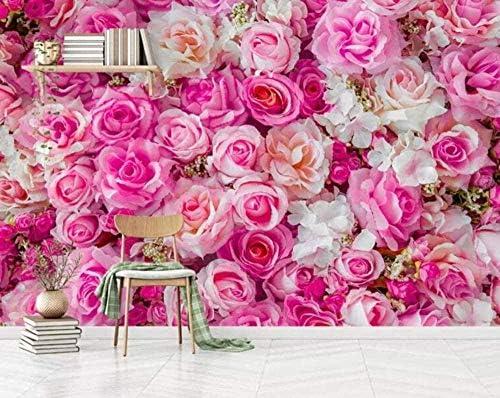 Hxcok 3D不織布壁紙写真不織布プレミアム写真壁紙3D壁紙モダンなピンクのバラの背景の壁3Dリビングルームベッドルーム-120x100CM