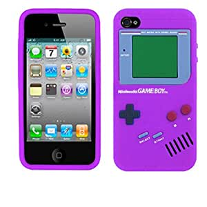 iPhone 4 4S Purple 3D Game Boy Soft Rubber Silicone Skin Case