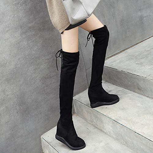 Shukun Stiefeletten Overknee-Stiefel Weibliche Flat-Bottomed-Stiefel Hohe Stiefel Damenstiefel Overknee-Stiefel Baumwolle Stiefel Erhöhter Winter