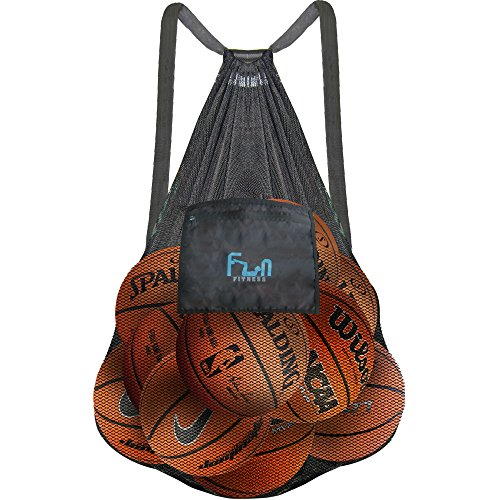 Mesh Bag Ball Beach Toy (Black - XXXL) - Large Backpack for Basketball Pool Swim