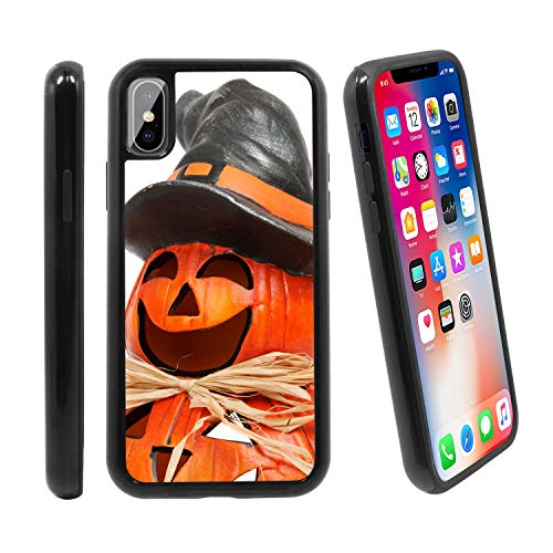 [Funny Halloween Pumpkin Man] for Apple iPhone X/iPhone 1 (2017), Hybrid Heavy Duty Armor Shockproof Silicone Cover Rugged case ()