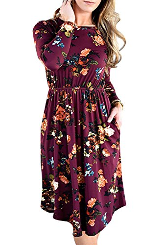 Shirt Floral Burgundy - ZESICA Women's Summer Short Sleeve Floral Printed Casual Loose Swing Pleated T-Shirt Dress with Pockets