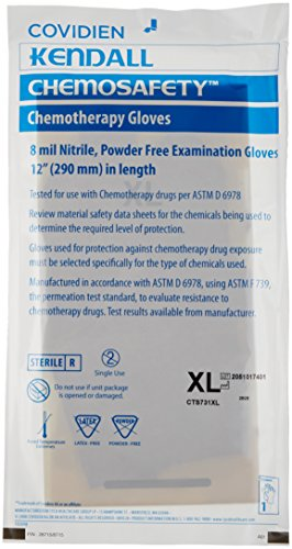 MedPlus CTS731XL ChemoSafety Nitrile Glove, Sterile, Beaded Cuff, Powder-Free, 8 mil Thickness, 12'' Length, X-Large (Case of 400) by Thomas Scientific