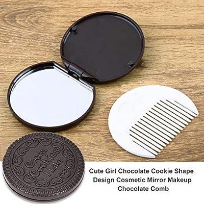 1 Pcs Make-up Spiegel Mit Kamm Mädchen Frauen Mini Tasche Spiegel Nette Schokolade Cookie Shaped Spiegel Make-up Schminkspiegel