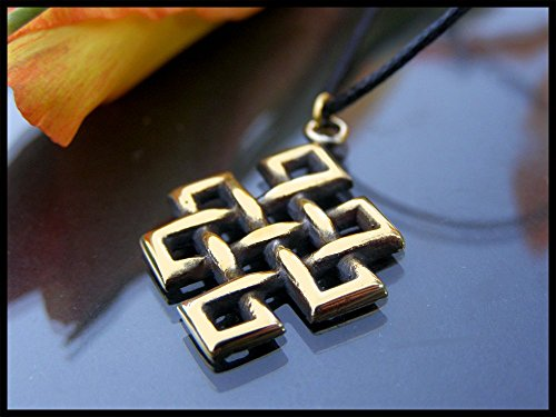 Endless Eternal Knot Pendant Necklace With Adjustable String Brass Pendant