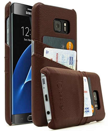 Samsung Galaxy S7 Edge Case, Bastex Premium Genuine Leather Slim Fit Snap On Executive Wallet Card Case Samsung Galaxy S7 Edge