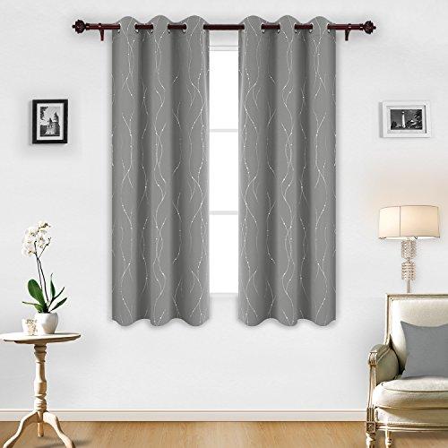 Deconovo Grey Blackout Grommet Curtains Pair Thermal Insulat