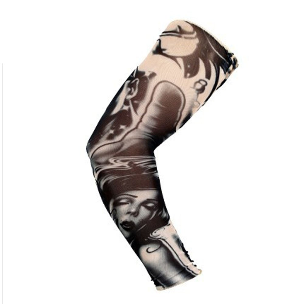1Pc Nylon Elastic Temporary Tattoo Sleeve Body Arm Stockings UV Protection Tattoo Arm Sleeves for Men Tattoo Sleeves Cover up Full Sleeve - Running, Cycling (H)