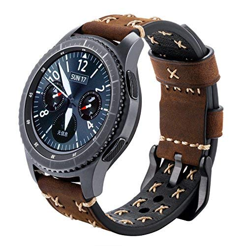 iBazal Gear S3 Watch Band 46mm, Gear S3 Frontier/ Classic Leather Band 22mm Watch Band Replacement Band with Black Clasp for Samsung Gear S3 Frontier/ Classic SM-R760 Men Women- Vintage Brown