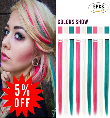 White highlight hair extensions rhyme straight colored clip inon hair extensions 20 9pcs party highlight multi colors pmusecretfo Images