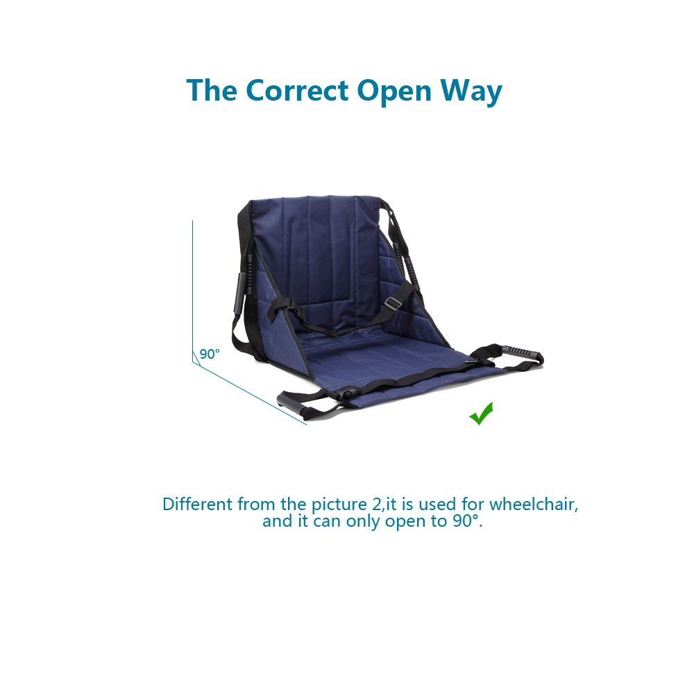 Patient Lift Stair Slide Board Transfer Emergency Evacuation Chair Wheelchair Belt Safety Full Body Medical Lifting Sling Sliding Transferring Disc Use for Seniors,handicap (Blue - 4 Handles) by NEPPT (Image #5)