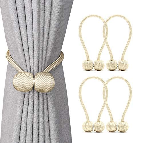 DEZENE Magnetic Curtain Tiebacks,The Most Convenient Drape Tie Backs,Decorative Rope Holdback Holder for Big,Wide or Thick Window Drapries,4 Pack(16 Inch ()