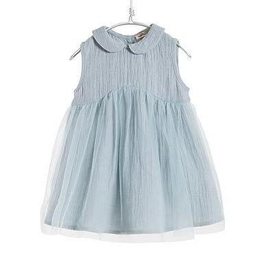 3f6fed8581ef marc janie Baby Girls' Cotton Linen Organza Princess Dress Light Blue 3  Years