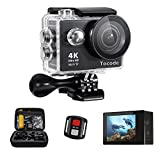 Tocode H9R 4K Sports Action Camera, Full HD Wifi Waterproof DV Camcorde with 4K25/ 1080P60/ 720P120fps Video, 12MP 170 Degree Wide Angle 2 inch LCD Screen/2.4G Remote Control Action Cameras Tocode