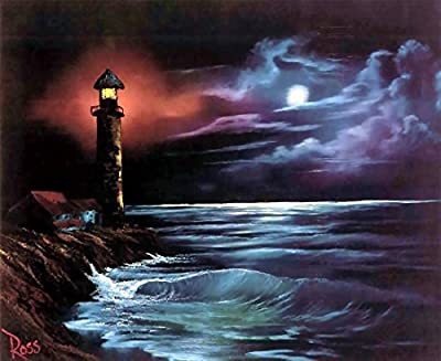 DIY 5D Diamond Painting by Number Kits, Full Drill Crystal Rhinestone Diamond Embroidery Paintings Pictures Arts Craft for Home Wall Decor. Black Lighthouse?12X16inch/30X40CM)