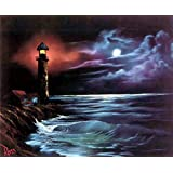 DIY 5D Diamond Painting by Number Kits, Full Drill Crystal Rhinestone Diamond Embroidery Paintings Pictures Arts Craft for Home Wall Decor. Black Lighthouse(12X16inch/30X40CM)