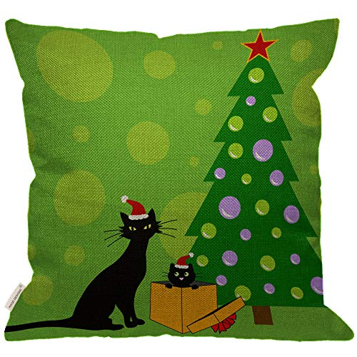 Snowflake Cat - HGOD DESIGNS Happy New Year Black Cat Throw Pillow Cover,Green Xmas Tree Snowflake with Two Cat Decorative Couch Sofa Bedroom Burlap Pillow Cases for Men/Women/Girls/Boy/Children Room 18x18inch