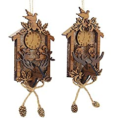 Club Pack of 12 Wooden Brown Cuckoo Clock with Pinecones Christmas Ornaments 7