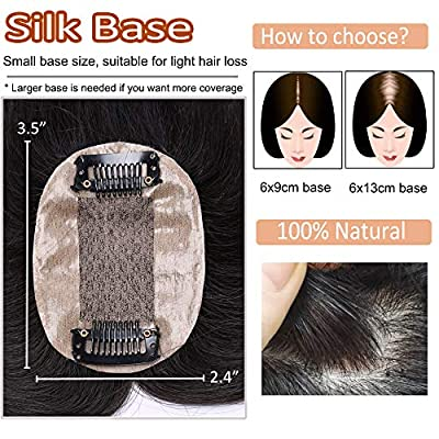 Silk Base Human Hair Toppers for Women Clip in Top Hairpiece Toupee for Thinning Hair Black Brown