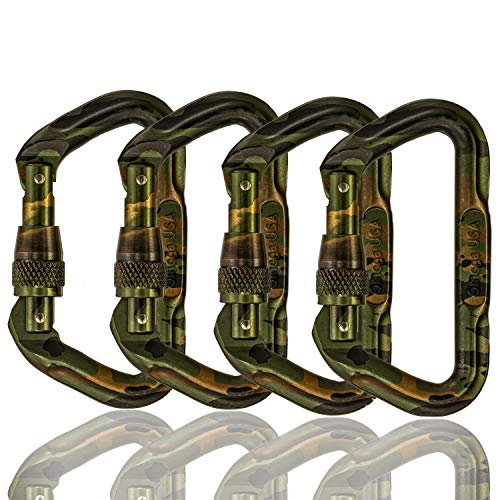 Omega Pacific Locking Climbing Carabiner, D, Screw Locking, Camouflage, 4 Pack, Rock Climbing Gear and Equipment, Safety, Rescue, Industrial, and Arborist - Pacific Camo