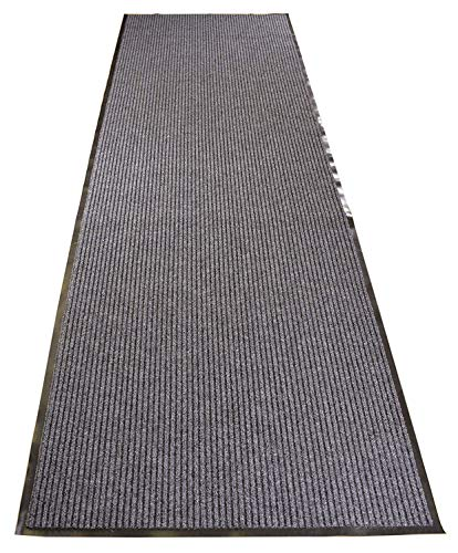 RugStylesOnline Tough Entry Mat Indoor Outdoor Entrance Mat and Hallway Runner Tough Entry Collection Slip Skid Resistant PVC Backing Anti Bacterial Commercial Grade (Grey, 3' x 10') (Entrance Carpet)