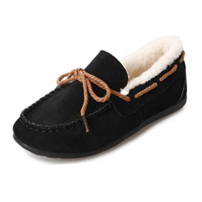 0dbb91f1aec Gtagain Ladies Moccasin with Soft Suede Sole Slipper - Winter Warm Comfort  Slippers Faux Fur Lined